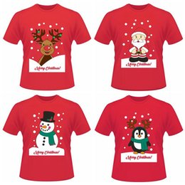 Wholesale Penguin Shirts - Christmas Funny Short T-shirts Santa Claus Elk Penguin Summer Short Sleeve Printed Tops Tee Shirts LJJO3637