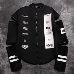Wholesale Ktz Hoodie - Fall-Hood By Air HBA 2015 Split 69 Long Sleeves Detachable Jacket pyrex vision baseball clothes KTZ Zipper winter warm hoodie
