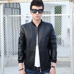 Wholesale Genuine Leather Jacket Men Brown - Wholesale- 2017 New Men Leather Jacket Fur Stand Collar Motorcycle Jaqueta Masculinas Jacket Mens fashion Casual jackets Leather coat Tops