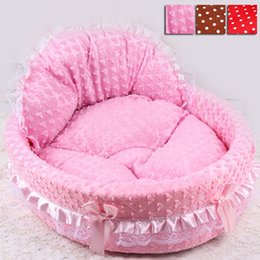 Wholesale Korean Hand - Free Shipping 2016 Hot Luxury Dog Princess Bed Lovely Pet Dog Cat Beds Sofa Comfort Puppy Sleeping Beds Teddy House for Dogs HT0011 Salebags