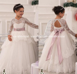 Wholesale White Heart Prom Dress - Vintage 2015 Flower Girls' Dresses with Sheer Lace Long Sleeves For Weddings Ivory and Blush Sash Heart Backless Prom Ball Communion Gowns