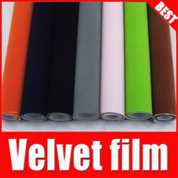 Wholesale Roll Black Velvet - New Fashion Car Sticker For Changing Cars Body Color 1.35*15M Car Interior Sticker Velvet Fabric Auto Vinyl Rolls