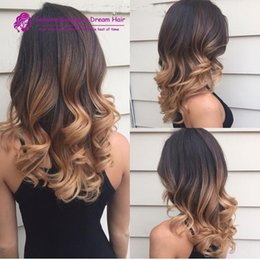 Wholesale Ombre Hairstyle - 4x4inch Silk base 180density ombre Human Hair Wigs Brazilian human Hair Full Lace Human Hair Wigs 3 Tone 1b 4 10 wigs stock