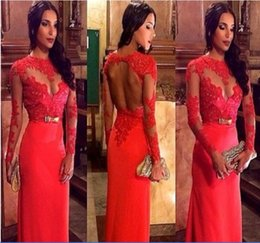 Wholesale Evening Dress Sheath - New 2015 Elegant Evening Party Dress Sheath Crew Long Sleeves Appliques Hollow Back Bow Sash Custom made Flooe length Robe De Soiree