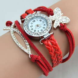 Wholesale Charm Watches Sale - Hot Sale Infinity Watches Weave Bracelet Watches Lady Wrap Watches Love Dream Cross Butterfly Elephant Leather Wrist Watches Mix Style