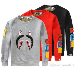 Wholesale Fleece Jackets Embroidered - The tide card kanye west shark mouth embroidered stitching Mens skate board Long Sleeved Sweater Jacket - men and women Hip hop Lovers cloth