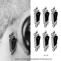 Wholesale ear stickers - Wholesale- HC1059 3d Switch Button Design Temporary Tattoo Sticker Waterproof Fake Tattoo Sticker Men Women Ears Personalized Stereoscopic