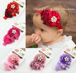 Wholesale Sequin Bowknot Hair - Girls Headbands Pearl Rose Flower Bowknot Sequins Hair Accessories 6 Colors HD029
