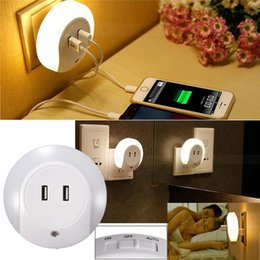 Wholesale Usb Wall Plates - Wall Socket Face Plate 2 USB Charge Outlet Port With LED Sensor Night Light