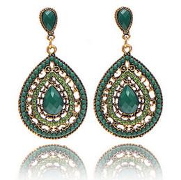 Wholesale Acrylic Bead Chandelier - 2015 New Women Bohemian Beads Drop Earring Fashion Vintage Dangle Chandelier Crystal Earrings 5 colors