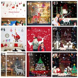 Wholesale Tree Wallpaper Decoration - Christmas Tree Santa Claus wallpapers Living Room Bedroom Removable Clear PVC Wall Stickers 60*90CM Christmas Decorations YYA806