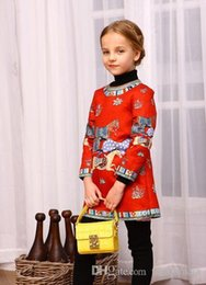 Wholesale Baby Kids Clothes Designer Red - Retail Kids Clothes 2016 horse dresses Baby Girl Dress Designer Princess Party Dress Running horse Children Kids Dresses for Girls Clothing