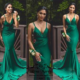 2019 vestidos de moda árabe para mulheres Sexy Hunter Verde Sereia Longos Vestidos de Baile 2K19 Casal Moda Plus Size Barato Árabe Africano 2020 Meninas Mulheres Formal Vestidos de Festa À Noite vestidos de moda árabe para mulheres barato