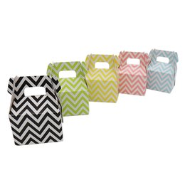 Wholesale wholesale polka dot paper bags - 500pcs stripe polka dot chevron Paper Candy Box gift bag Chocolate Packaging Children Birthday Party Wedding Decorations Favors