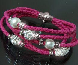 Wholesale Shamballa Stainless Steel Beads - fashion bracelets New Shamballa PU Braided Leather Bracelet CZ Disco Crystal Bead infinity Bracelet Handcraft Bangle jewelry