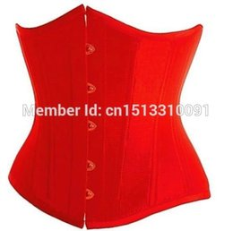 Wholesale Corset Red Lace Underbust - Wholesale-Red Sexy Women Underbust Satin Cupless Corset Lace Up Boned Bustier Basque Clubwear Tops S-2XL Free Shipping