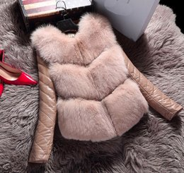 Wholesale Women Sheepskin Jacket - 2017 New winter high fashion women's luxurious faux fur coat Patchword thick warm sheepskin leather jacket parkas Top quality for lady