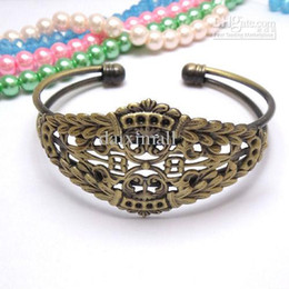 Wholesale Brass Jewelry Blanks - Min Order 10pcs Wholesale ANTIQUE BRONZE Filigree Adjustable Cuff Bangle and Bracelets Blank for Women DIY Jewelry Findings