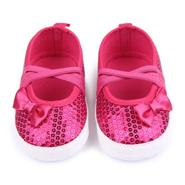 Wholesale Fancy Fabrics - Wholesale- Cute Bling Bowknot Baby Shoes Elastic band Fancy Baby Girls Shoes For 0-12 Months