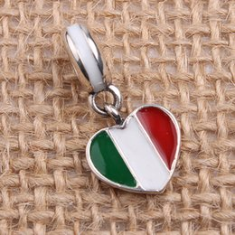 Wholesale Italy Flower Bracelet - New DIY Enamel Italy Flag Dangle Charms Original 100% Authentic 925 Sterling Silver Thread Beads fit for Pandora bracelets & Necklaces
