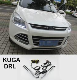 Luz led ford kuga on-line-2xWith Amarelo Função Voltando cromada ABS Tampa 12V Car DRL LED diurnas Luz Para Ford Kuga escape 2013 2014 2015 2016