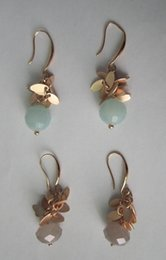 Wholesale Hook Brass Earring - tear drop shape earring with faceted glass beads,brass fancy fish hook,shinny gold plated,grey and mint colour stones