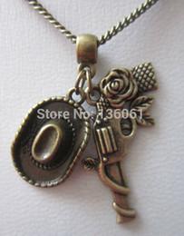 Wholesale Charm Gun Bronze - Cowboy Gun Hat Necklaces Charms Chain Choker Necklace Pendants 20PCS Vintage Bronze For Women Statement Necklaces Gifts Accessories X341