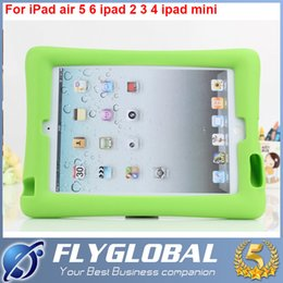 Wholesale Child Kid Ipad Case Cover - For iPad Air 6 ipad2 3 4 Mini1 2 Children Kids Soft Silicone Portable Kickstand Shockproof Protective Case Cover hot sale