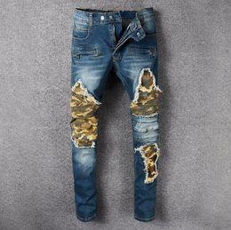Wholesale Men Paint Jeans - Men's Blue Skinny Biker Elastic Jeans VINTAGE Brand Designer Slim Fit Colored Paint Mens Motorcycle Moto Denim Hip Hop Pants For Men