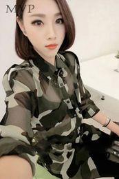 Wholesale Army Green Chiffon Shirt - Women Chiffon Blouses With Belt Cool Fashion Long Sleeve Turn Down Collar Shirt Camouflage Color Tops For Women Blusas b6