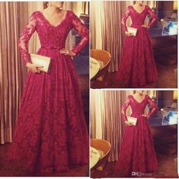 Wholesale Champagne Aline Long Dresses - Capped with Long Sleeves Dress Elegant Red Custom Made ALine V-Neck Lace Prom Dresses 2015 Bow Ribbon Long Prom Dresses Party Evening 2016