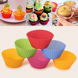 Wholesale Christmas Bakeware - 7CM Silicone Cake Mold DIY Round Cake Baking Cups Nonstick Liner Bakeware Tools 8 Color Muffin Cases Free DHL WX9-177
