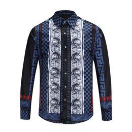 Wholesale Shirt Dress Fashion Polka Dot - 2018 Italian international brand Milan fashion men's new Leisure Harajuku shirt Creative printing Medusa business Long sleeves men's shirt