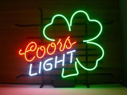 "Wholesale Coors Beer Lighted Signs - New Coors Light Shamrock Light Neon Beer Sign Bar Sign Real Glass Neon Light Beer Sign 17""X14"""