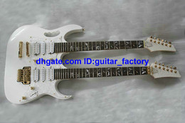Wholesale Electric Double Neck Guitar - Custom Double Neck Electric Guitar IN White tree of life Fingerboard Mosaic 6 Strings AND 6 Strings