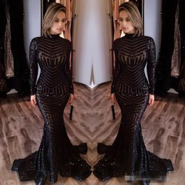 Wholesale Celebrity Dresses Bling - New Michael Costello Long Sleeves Prom Dresses 2017 Bling Bling Black Sequins High Neck Mermaid Sexy Celebrity Gowns Pageant Evening Dresses