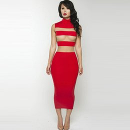 Wholesale Stripe See Through Dresses - Sexy Women Retro Red Mesh Stripes Dress Stand Collar Sheer Sleeveless Mid-calf Dress See-through Dress Vestidos Mujer 2015 order<$18no track
