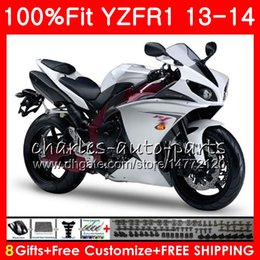 Wholesale Body Kit Yamaha R1 Purple - Injection Body For YAMAHA YZF 1000 YZF R 1 Pearl White YZF-1000 YZF-R1 13 14 86NO19 YZF1000 YZFR1 13 14 YZF R1 2013 2014 Fairing kit 100%Fit
