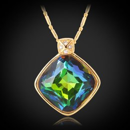 Wholesale Fire Topaz - Rainbow Fire Opal Pendant Necklace 18K Real Gold Plated Shiny Mystic Topaz Jewelry For Women