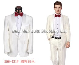 Wholesale Korean Groom - Wholesale-Korean Style Fashion Men's Clothing White Formal Groom Suits(Jacket+Pants+Tie)Classic men's Business Suits XS-5XL