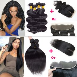 Wholesale Virgin Cambodian Lace Closure - Brazilian Virgin Hair Body Wave Straight Hair Weaves 4 Bundles with Lace Closure Or 13x4 Ear to Ear Lace Frontal with Human Hair