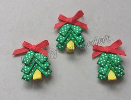 Wholesale Girls Xmas Hair Clips - 2inch Christmas tree hair clip accessories kids bows flower baby girls headband renda Bowknot Xmas hair clips HD3270