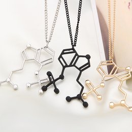 Wholesale Personalized Silver Charms - Hoffman Molecule Necklace Pendant Festival Goa Trance Psy Chemical Jewelry Gift Present Personalized Jewelry Necklaces for Women Body Chain