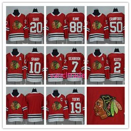 Wholesale Xl Hockey Jersey Chicago - 2017-2018 Season Chicago blackhawks 2 Keith 7 Brent Seabrook 19 Jonathan Toews 20 Brandon Saad 50 Corey Crawford 88 Patrick Kane Red jerseys