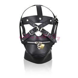 Wholesale latex sex masks - Adult Game Sex Toys Zipper Mouth Latex Pu Leather Mask Fetish Slave Sex Mask Bondage Hood With Lock Sex Products For Couples
