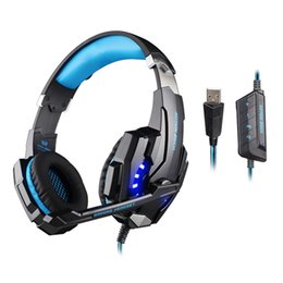 Wholesale Headphones Hd Blue - Professional gaming headphones EACH G9000 HD Game headset LED light With Microphone USB 7.1 Channel for LOL DOTA CS CF Esports
