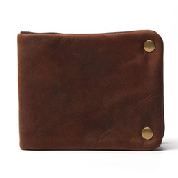 Wholesale Horse Print Wallet - Luxury Designer Vintage Handmade 100% Genuine Crazy Horse Leather Cowhide Men Wallet Purse Card Holder With Zipper Wallets Men