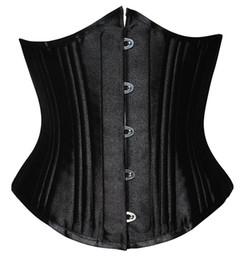 Wholesale Heavy Training Corset - Heavy duty 26 steel boned underbust corset XS-6XL plus size waist training corset sexy black satin corset for women