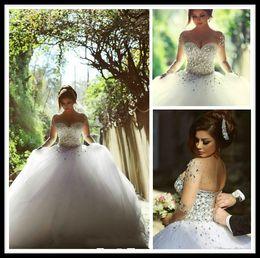 Wholesale Brautkleider Winter - 2015 White Wedding Dress Arabic Dresses Crystal Short Sleeve Ball Gown Organza Wedding Gowns Bridal Dress Backless Marriage Brautkleider