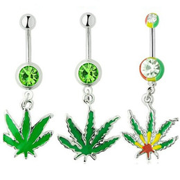 Wholesale Surgical Steel Navel Piercing Ring - 316L Surgical Stainless Steel Crystal Rhinestone Belly Button Navel Bar Rings New Body Piercing Jewelry Dangling Maple Leaf Charms